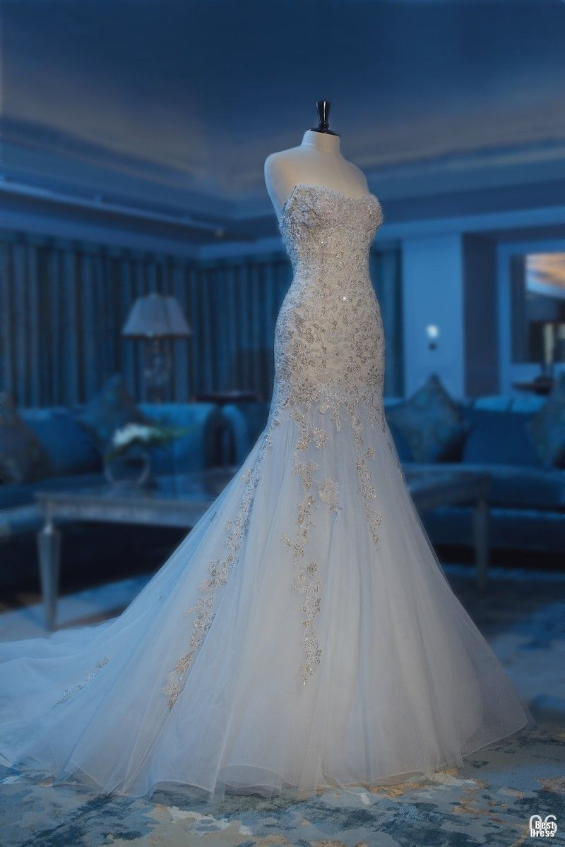China sexy mermaid wedding gown applique tulle sweep train wedding
