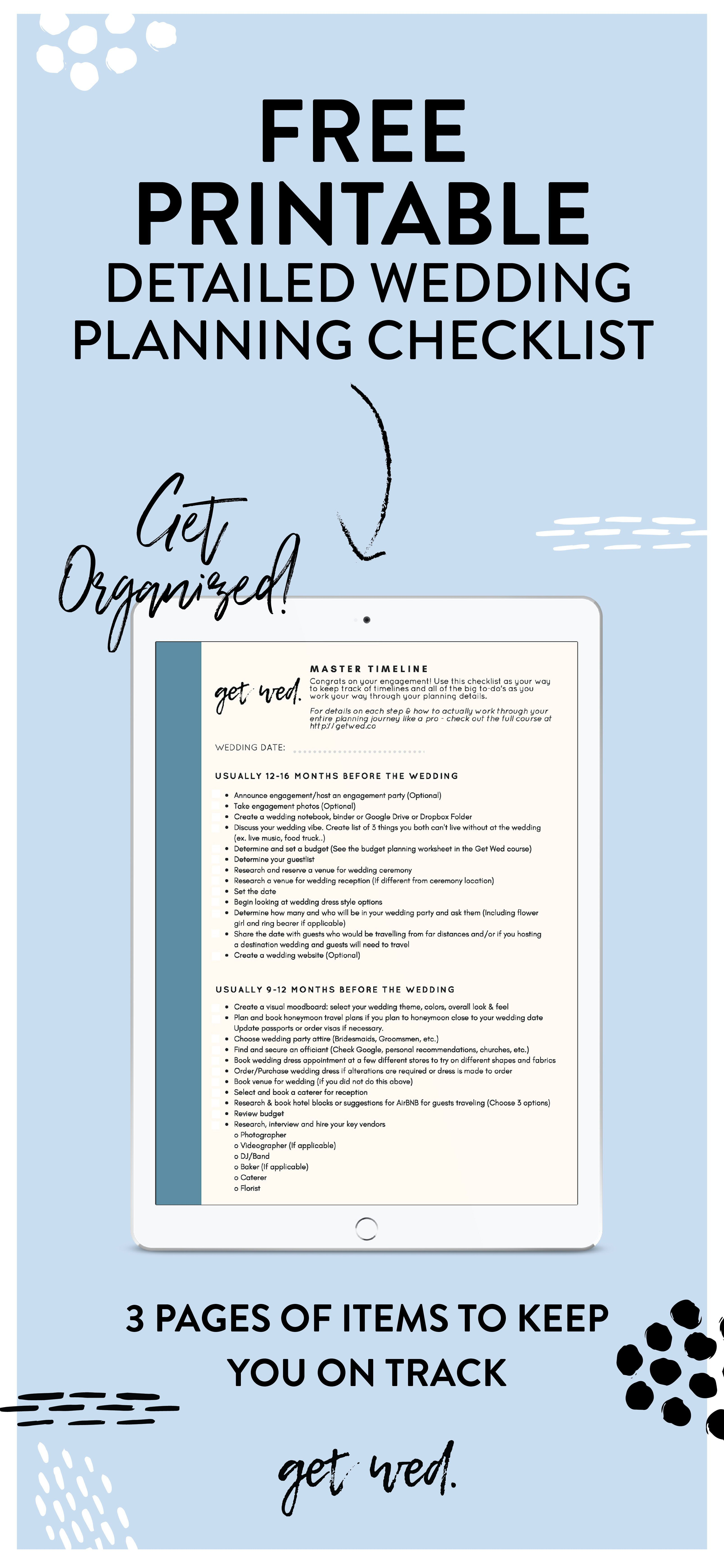 Stay Organized With This Free Printable Wedding Planning Checklist Three Pages Of Details So