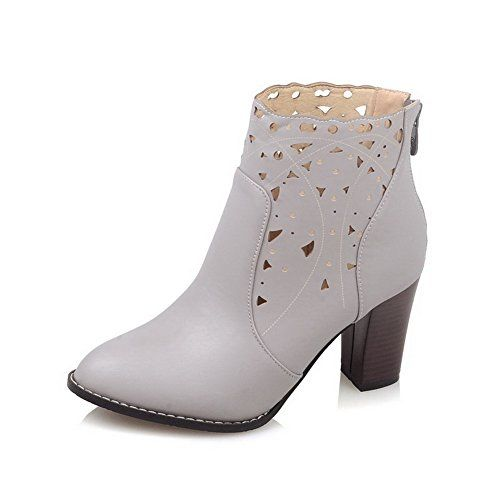 Ladies Back Zipper Chunky Heels Business Imitated Leather Boots
