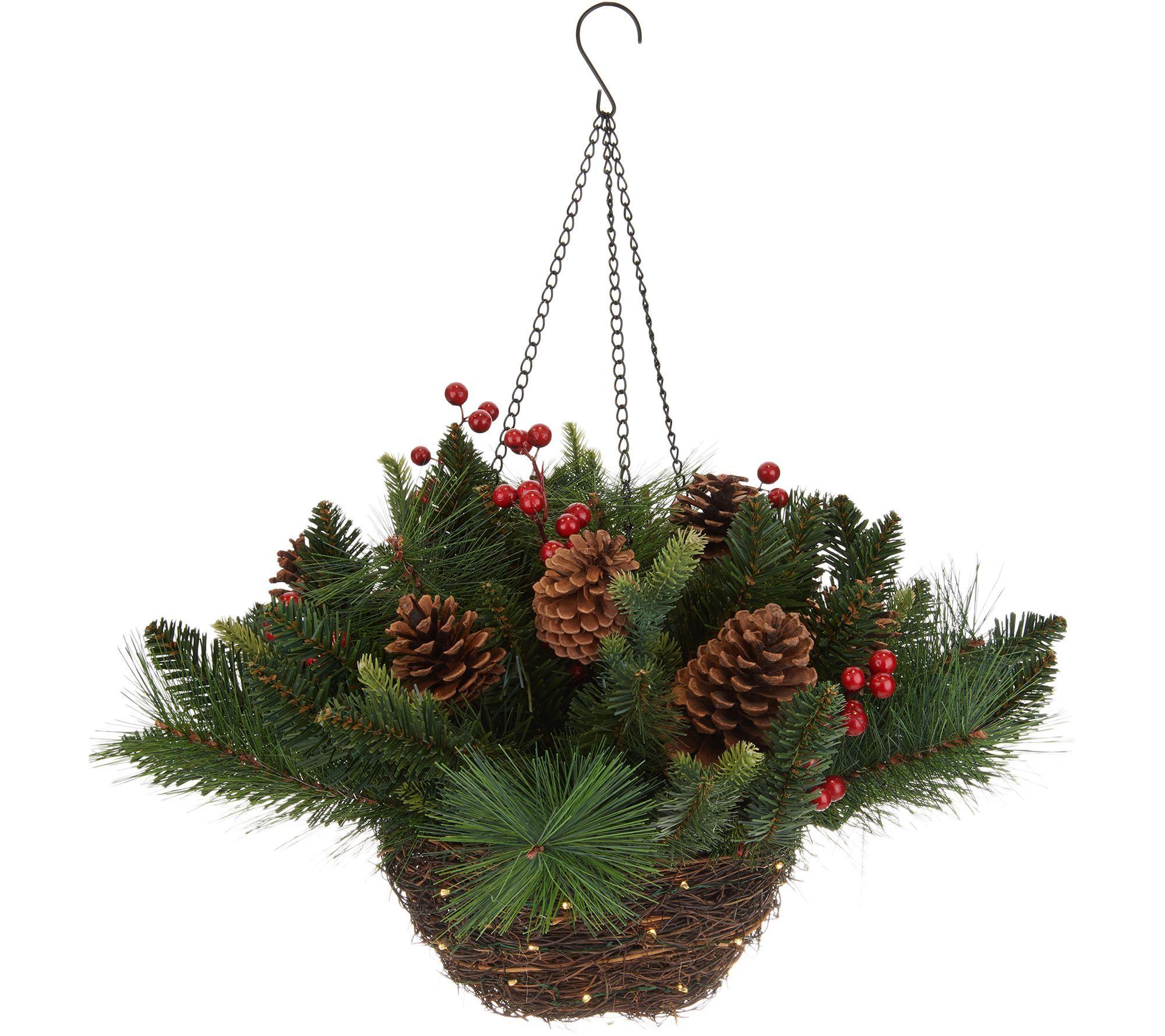 Scott Living Lit Rattan Basket W Needle Pine Spruce Tips Douglas Fir Berries Pinecones 40 Mcro L Christmas Hanging Baskets Christmas Decor Diy Hanging Baskets
