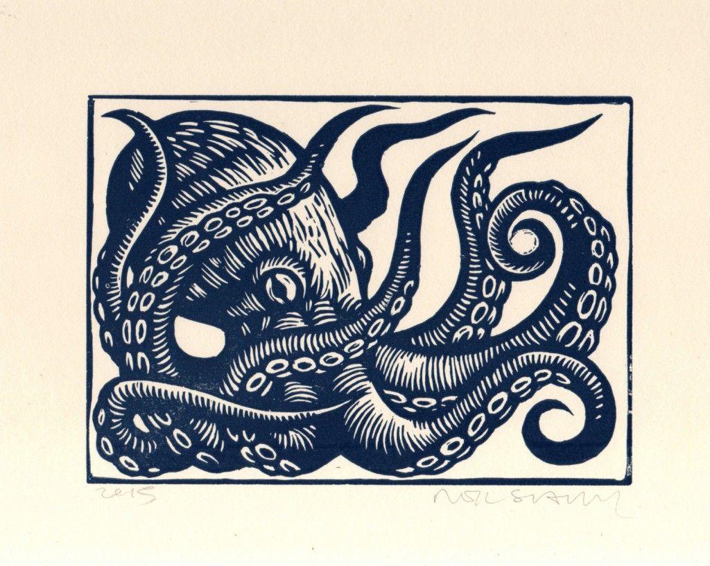 Octopus linocut art print wall