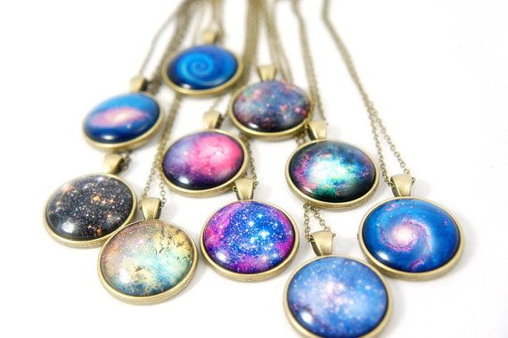 Galaxy Glass Dome Pendant Necklace  Holiday by cheapandchicland