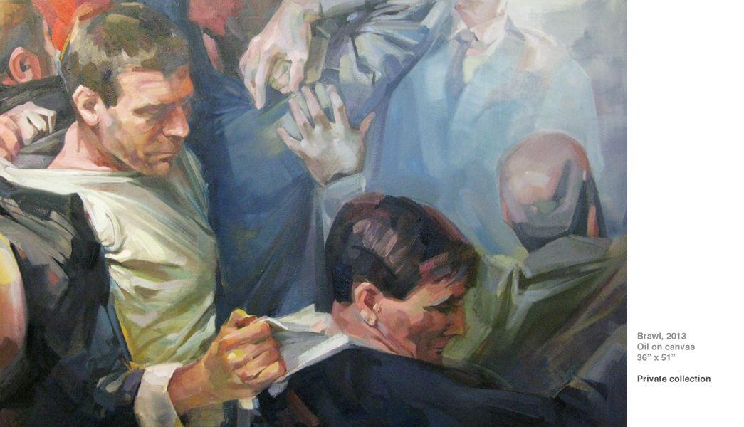 """Adrienne Dagg. Brawl 2013, oil on canvas. 36""""x52"""""""