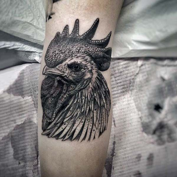 100 Delightful Blackwork Tattoo Designs: 100 Rooster Tattoo Designs For Men