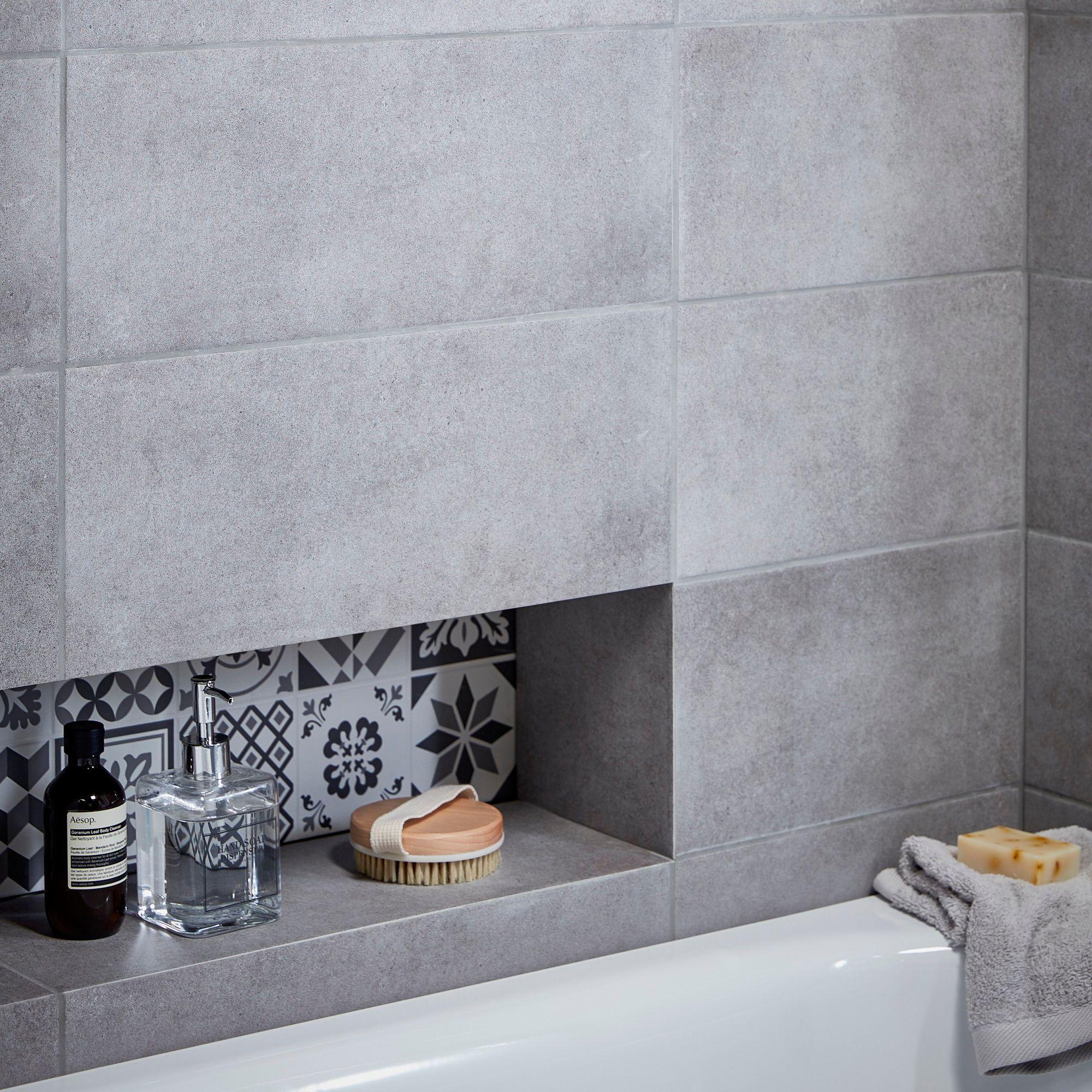 Konkrete Grey Matt Ceramic Wall Tile Pack Of 14 L 500mm
