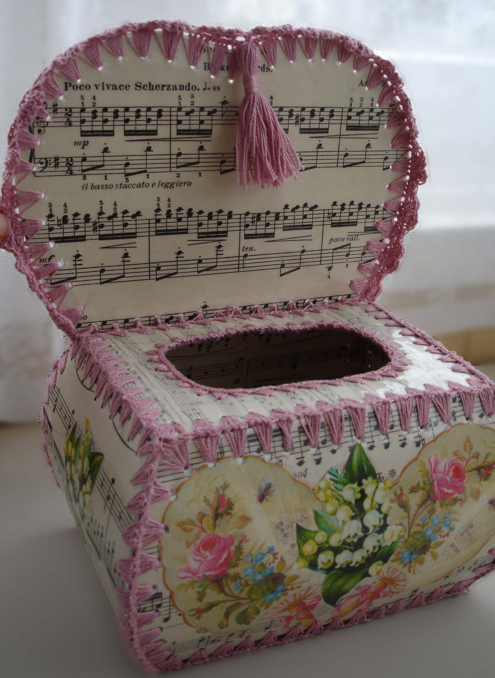 Music Crochet Box inside by Cosmica. I've gotta figure out how these are made :)