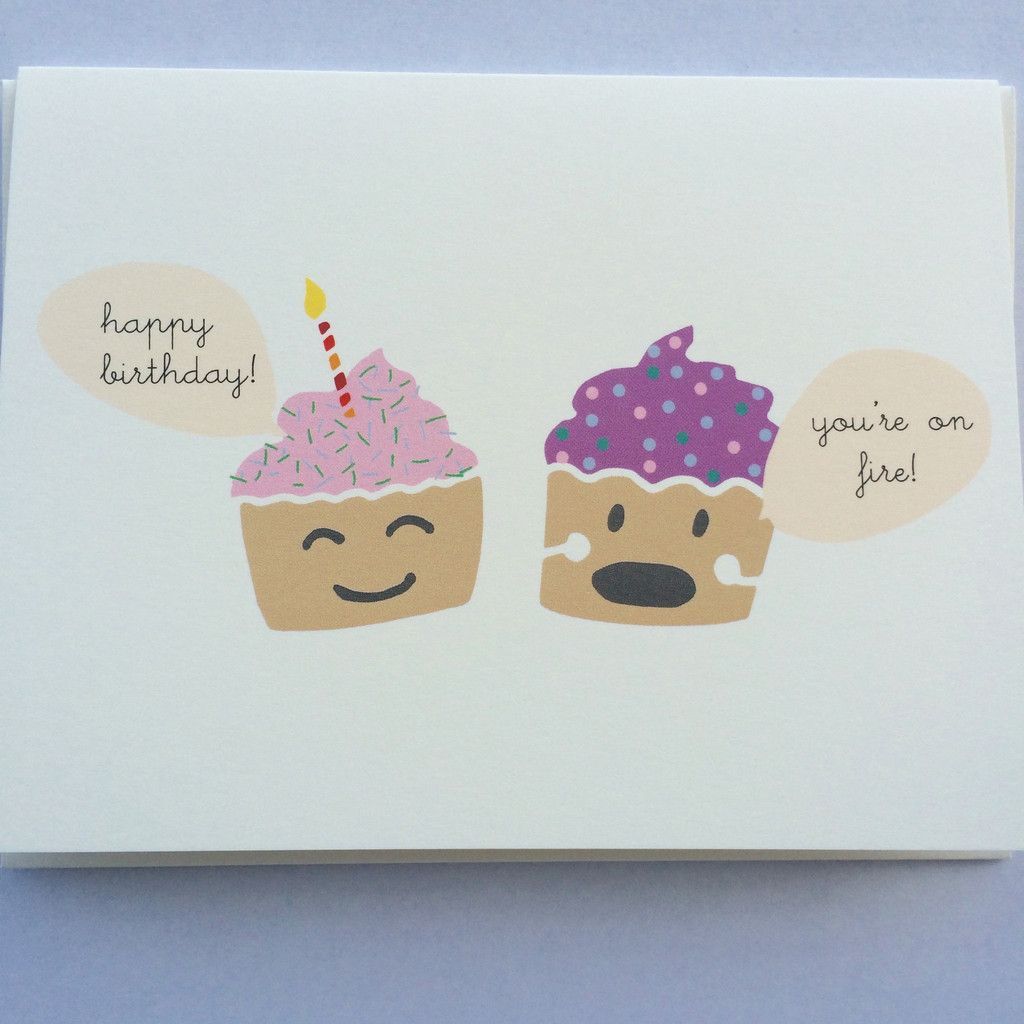 A Cute And Funny Birthday Card Featuring Two Talking Cupcakes Perfect For Cupcake Lovers With Sense Of Humor 1 Happy
