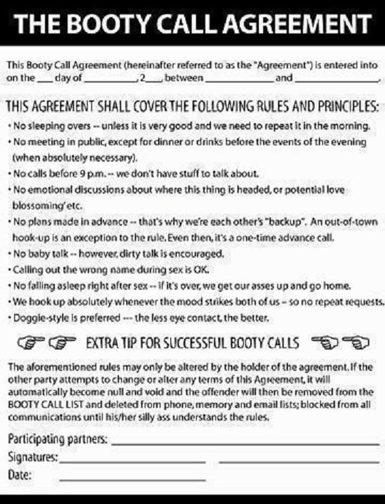 The booty call agreement