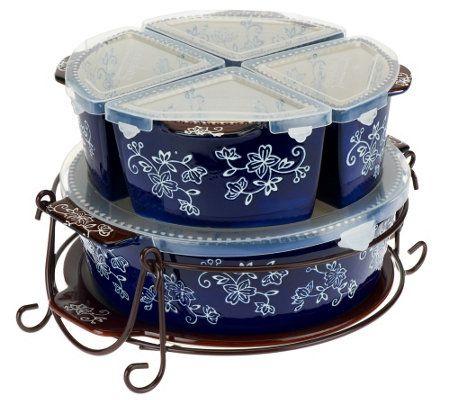 Temp Tations 7 Pc Winter Garden Or Floral Lace Baker Set