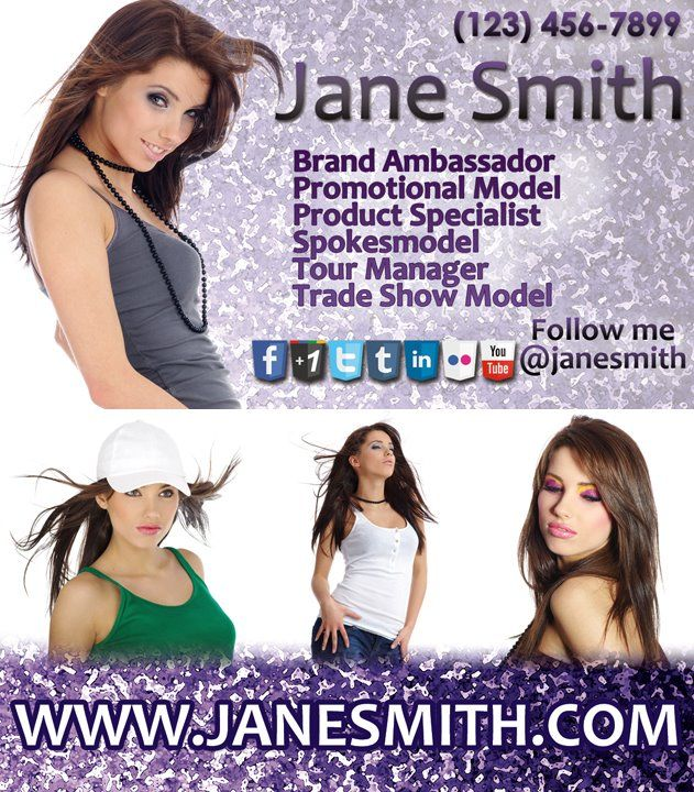 Jane Smith Promotional Modelspokesperson Business Card Designed By