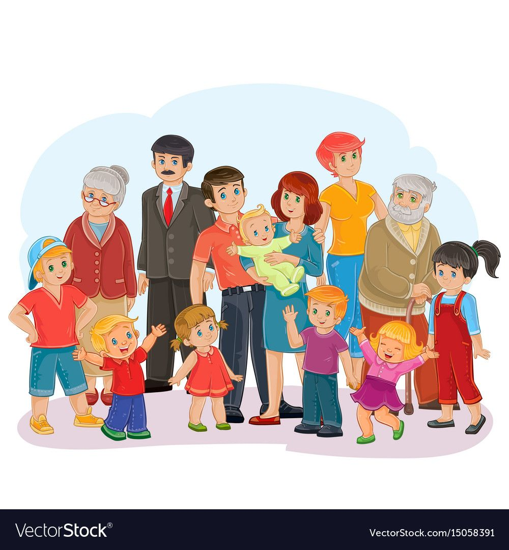 Big happy family greatgrandfather great Vector Image