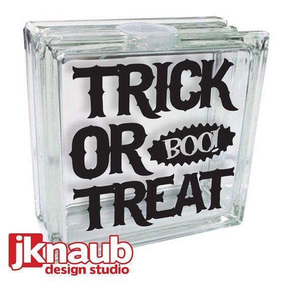 Halloween Decor Trick Or Treat Kraftyblok Glass Vinyl Decal - Halloween vinyl decals for glass blocks