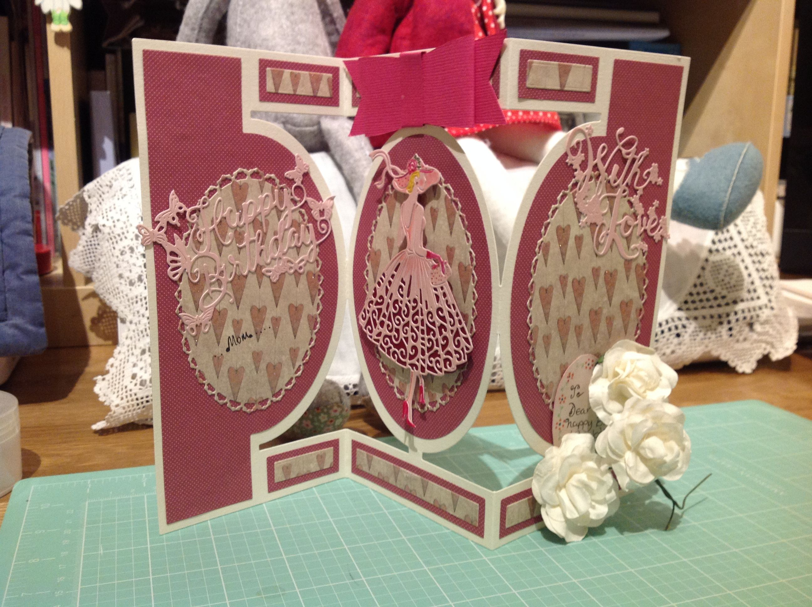 Made by Marga Davies - This card was made using Tattered lace card die, a walk in the park die, with love and Happy birthday dies.