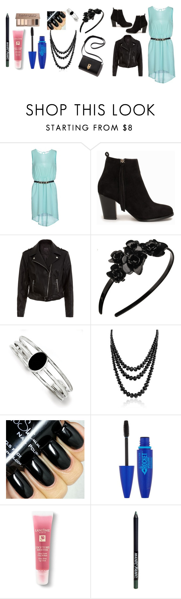 """""""Cute outfit"""" by ilovemykitty123 ❤ liked on Polyvore featuring Relish, Nly Shoes, L. Erickson, Kevin Jewelers, Bling Jewelry, Maybelline, Lancôme, Manic Panic, Urban Decay and women's clothing"""