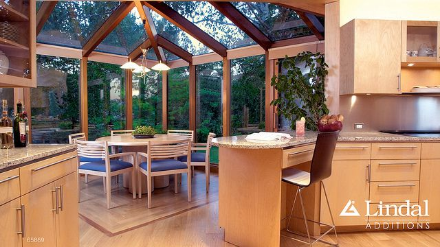 corner sunroom as dining room off of kitchen by lindal cedar homes via flickr. beautiful ideas. Home Design Ideas