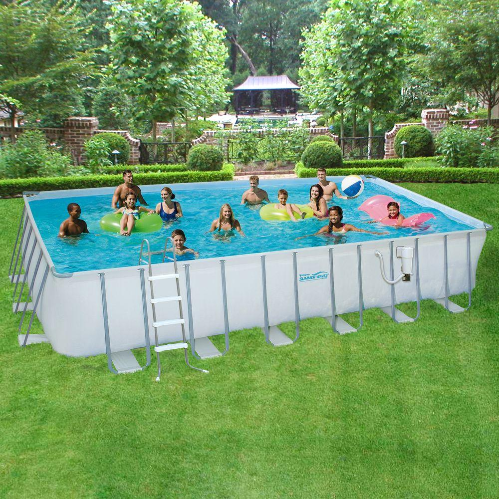 Summer Waves Elite 12 Ft X 24 Ft Rectangular 52 In Deep Metal Frame Swimming Above Ground Pool Gray In Ground Pools Above Ground Pool Summer Waves
