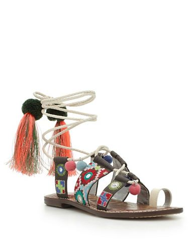 90e1f27763a6e9 Sam Edelman Gretchen Leather Toe-Ring Sandals Women s Ivory 9.5 ...