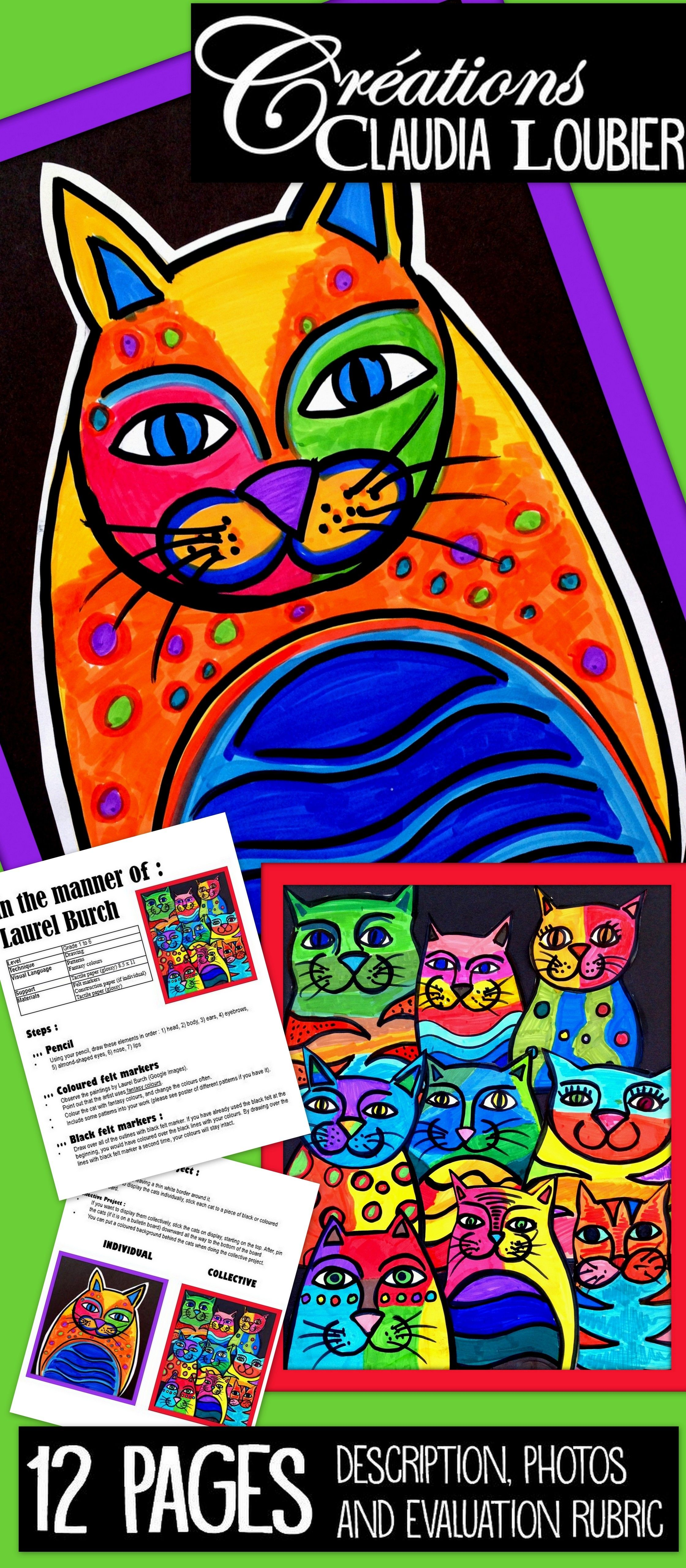 Art Lesson Plans For Kids In The Style Of Laurel Burch Cats