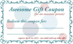 Printable Gift Coupon Templates   For Birthdays For Any Occassion |  GiftNinja.com  Homemade Gift Vouchers Templates