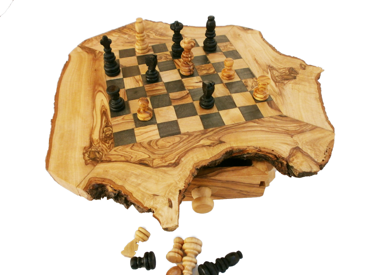 Personalized Chess Set Gift Olive Wood Rustic Chess Set Natural Edge Chess Board Dad