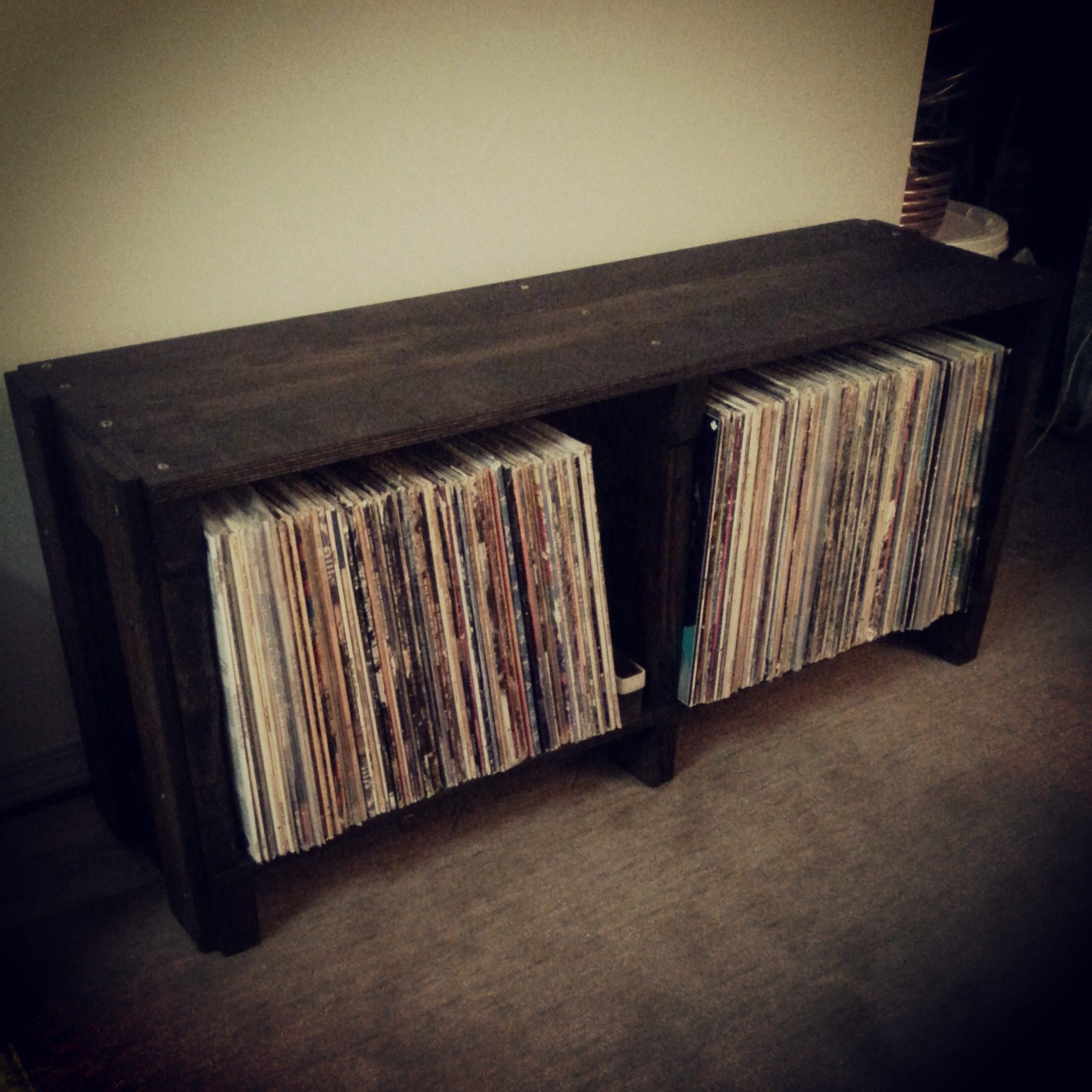 Reclaimed Pallet Wood Record Shelf Bench Lp Storage
