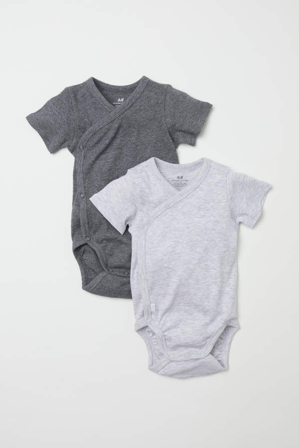 h&m h & m - 2-pack short-sleeved bodysuits - gray melange - kids
