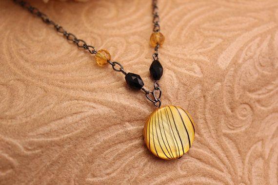 Yellow Zebra Necklace