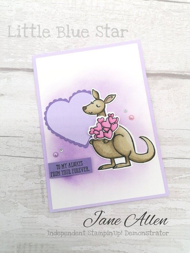 Valentine's Day card using Stampin'Up! kangaroo an