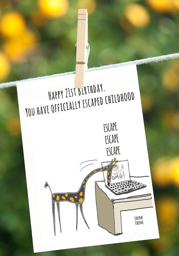 21st Funny Birthday Card Giraffe From Mom Dad Sister Brother
