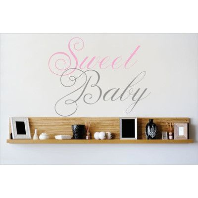 "Design With Vinyl Sweet Baby Wall Decal Size: 22"" H x 30"" W x 0.16"" D, Color: Pink/Gray"