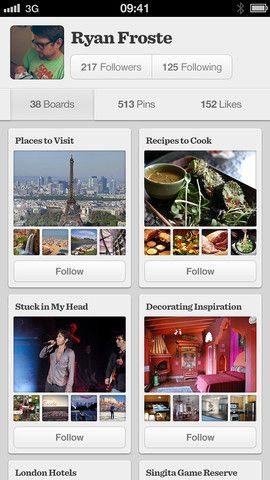 Pinterest's iPhone is as beautiful as their site.