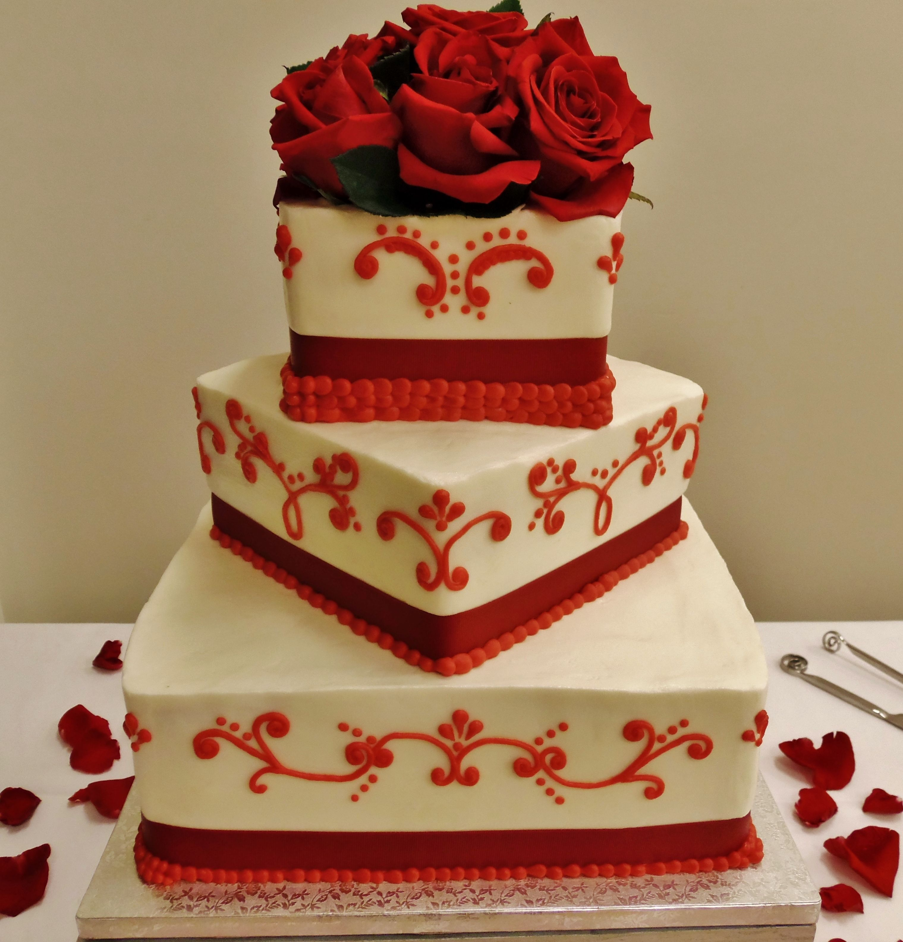 Ribbon Roses Wedding Cake: Red Wedding Cake In Buttercream Except Ribbon And Fresh