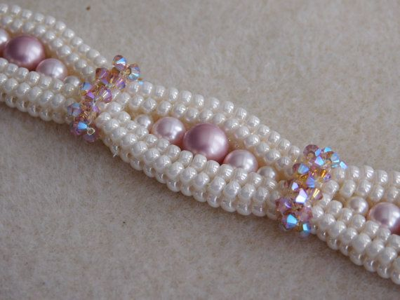 Beaded Bracelet Tutorial Pattern Instructions Jewelry Swarovski Pearl Bicone Seed Bead Beadweaving Diy Pdf Digital
