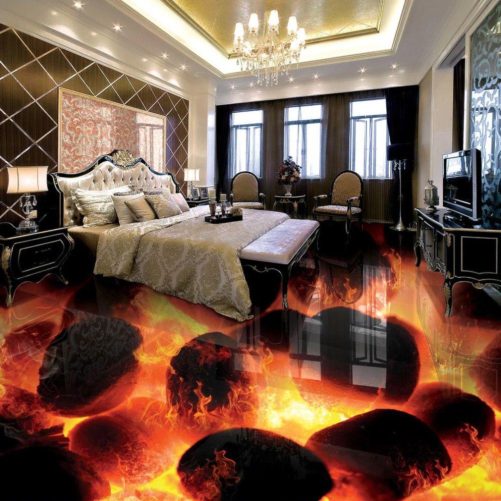 Custom 3D Flooring Murals 3D Stereo Stones Flame Bedroom Living Room ...