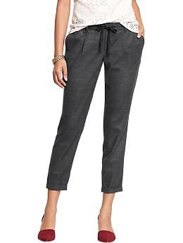 Womens Faux-Wool Pull-On Pants
