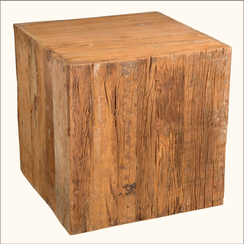 Old Reclaimed Wood Railroad Tie  Cube Pedestal End Table