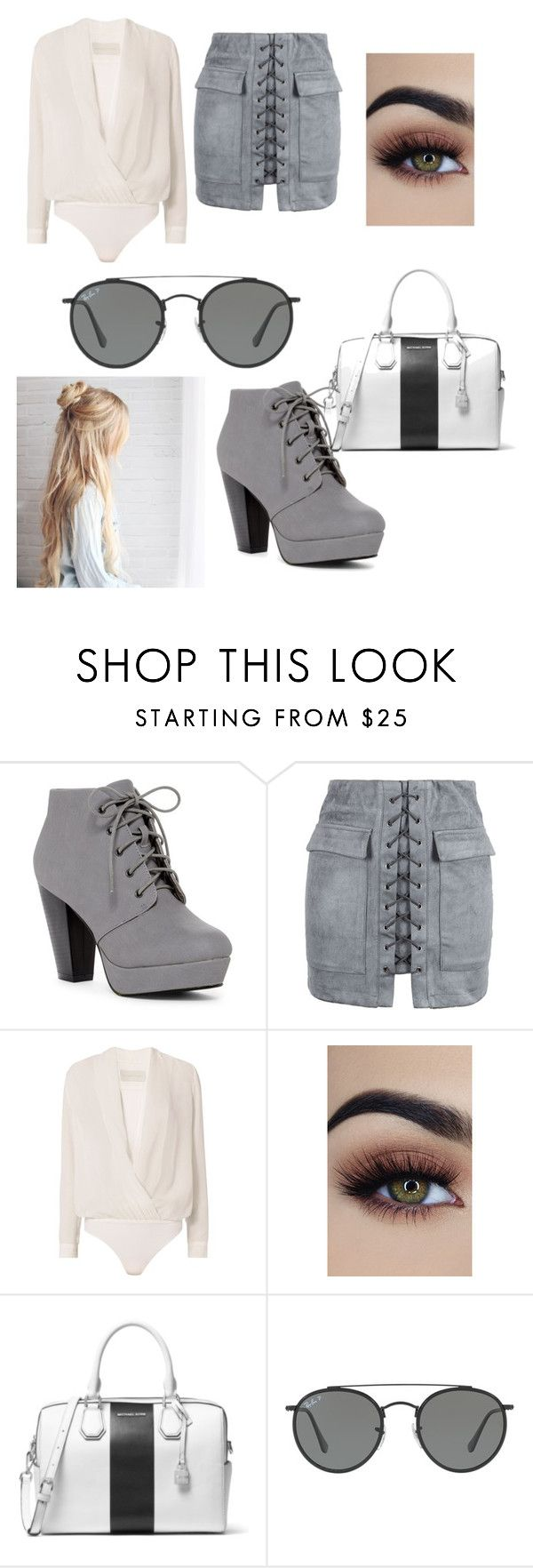 """""""On my grind"""" by lexihagen ❤ liked on Polyvore featuring WithChic, Michelle Mason, MICHAEL Michael Kors and Ray-Ban"""