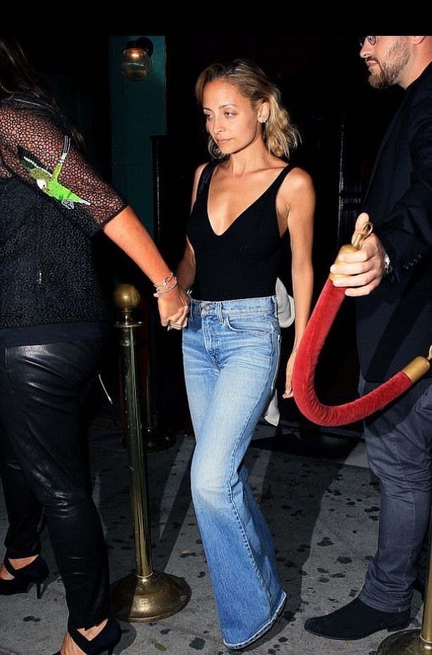 Nicole Richie Style, Blue Flare Jeans, Nicole Richie
