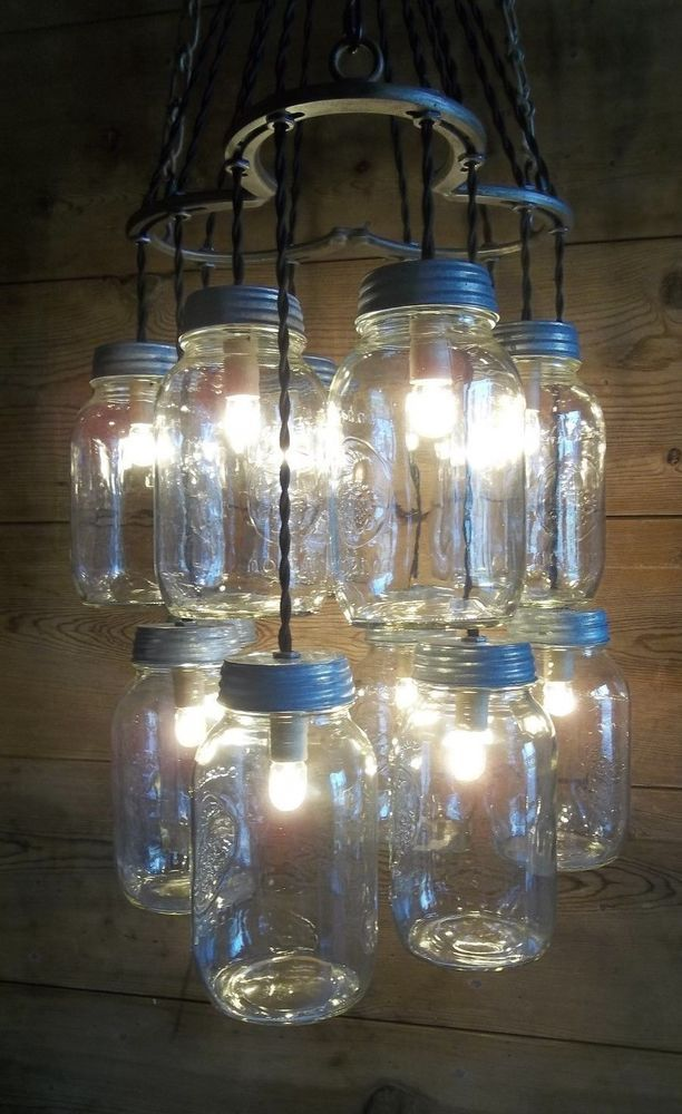 Horse shoe mason jar ceiling light fixture triple horse shoe 12 jar horse shoe mason jar ceiling light fixture triple horse shoe 12 jar lights horseshoecrafts crafts pinterest decoracin rstica frascos decorados y aloadofball Image collections
