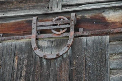 Rustic Photograph Pulley System On A 100 Year Old Pennsylvania Barn Door  Photo Weathered Red