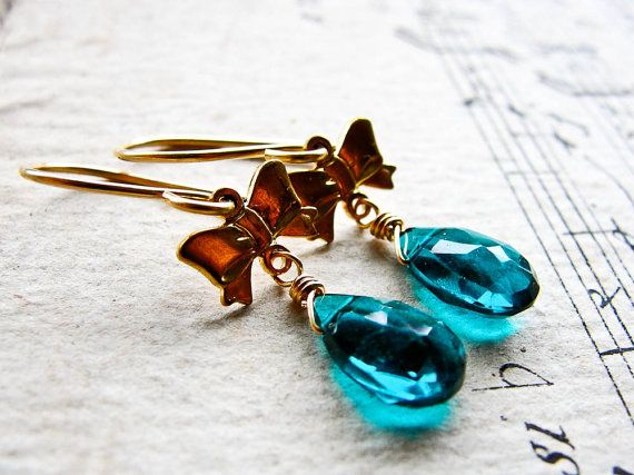 D E W D R O P S Teal hydro quartz with gold bows on by CrowandIris, $22.00