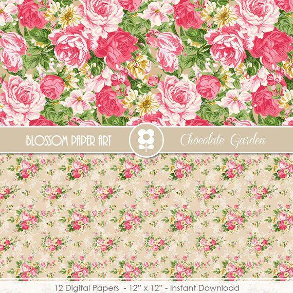 Papeles Digitales Floreados Beige Papeles de por blossompaperart