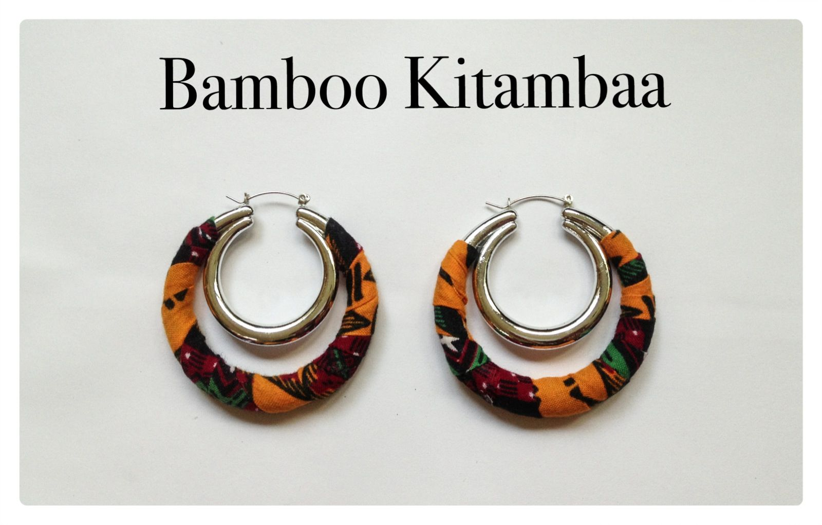 Bamboo Kitambaa pagne Earrings aretes boucles d'oreilles wax africa