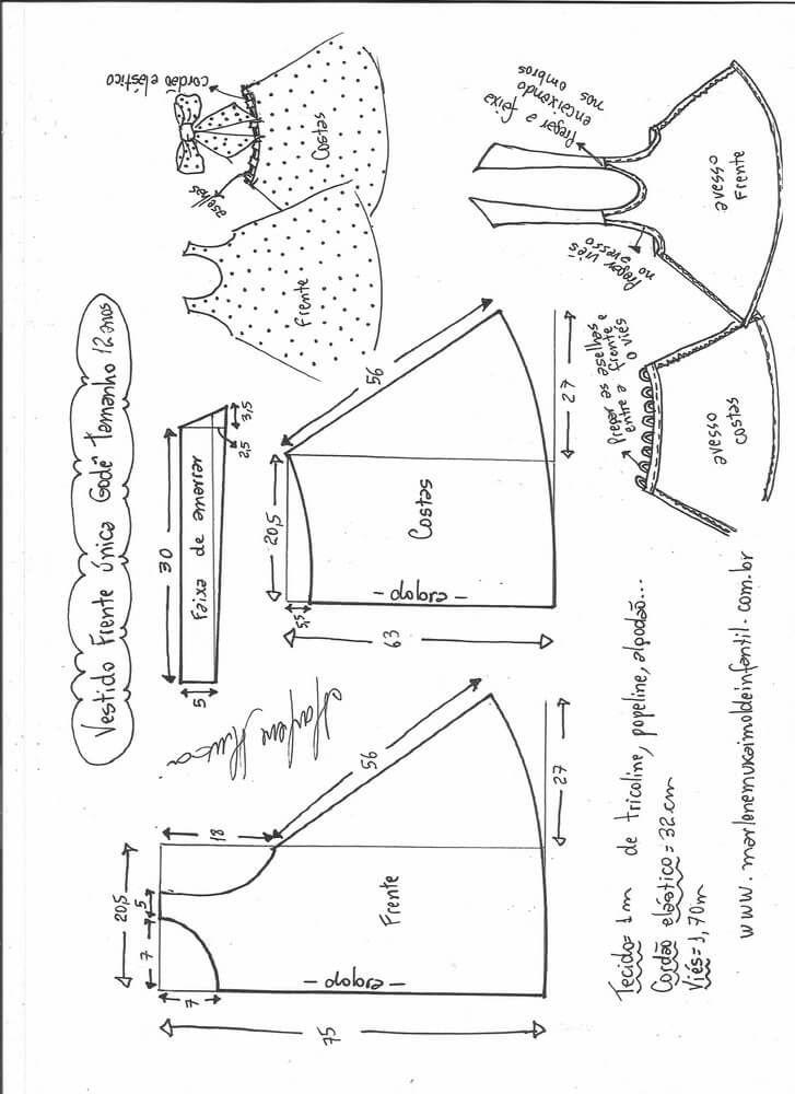 Patrón Vestido acampanado para niña | piyamas modernas | Pinterest ...