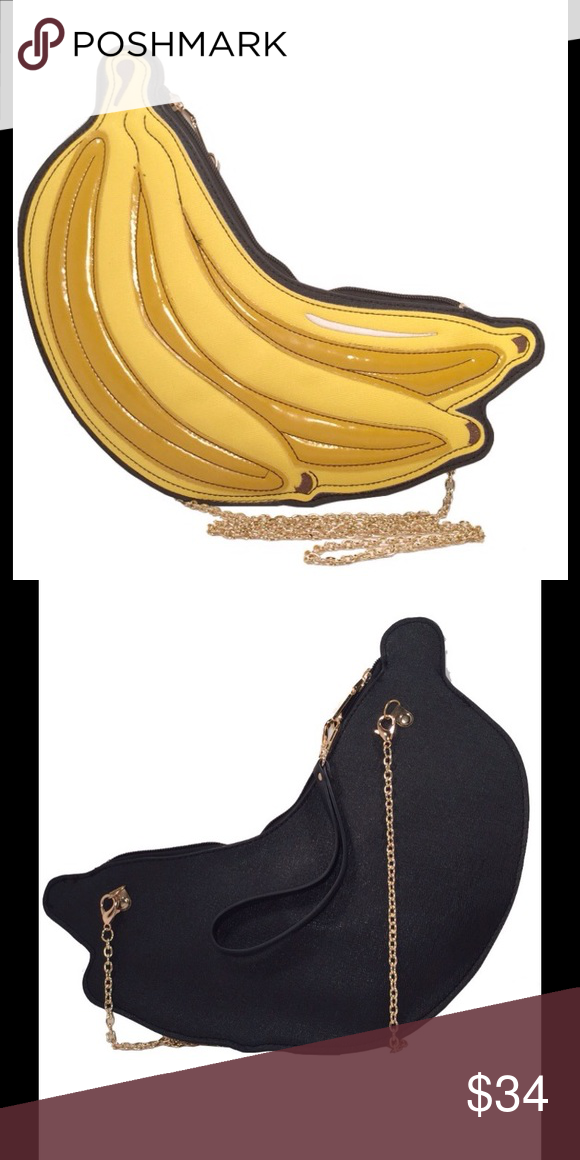 NWT Bananas Clutch in Yellow. PPC.3992 PPC-3992 Yellow Go bananas with this charming clutch that infuses a pop of color and a head turning design. Details: • 12'' W x 7'' H x 1'' D • 23'' max. strap drop • Zip closure • Faux Leather • Imported Bags Clutches & Wristlets