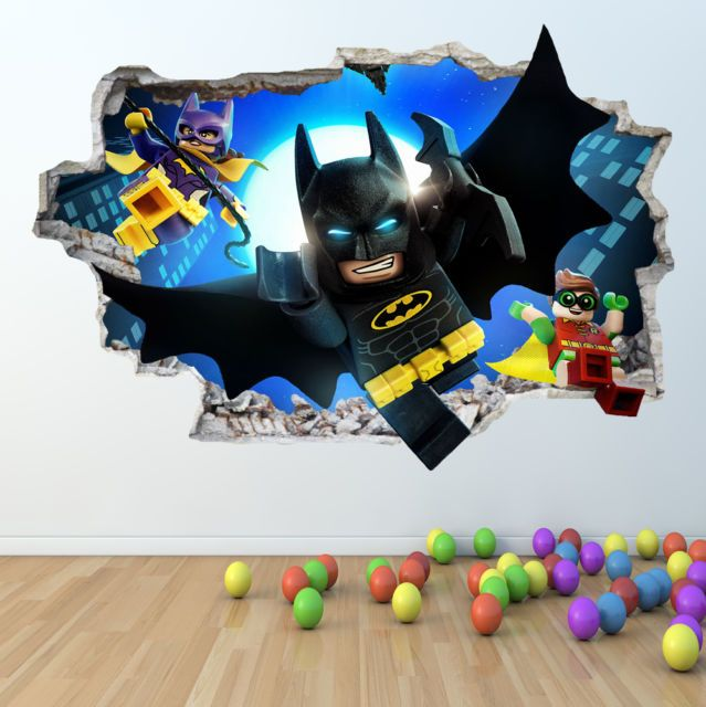 lego batman wall sticker 3d look - boys girls bedroom wall art decal