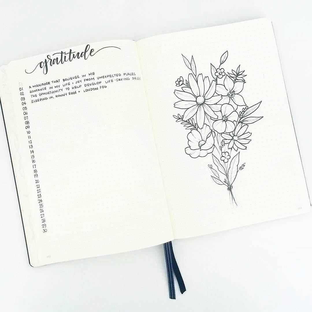 Bullet journal monthly gratitude tracker, flower drawings ...