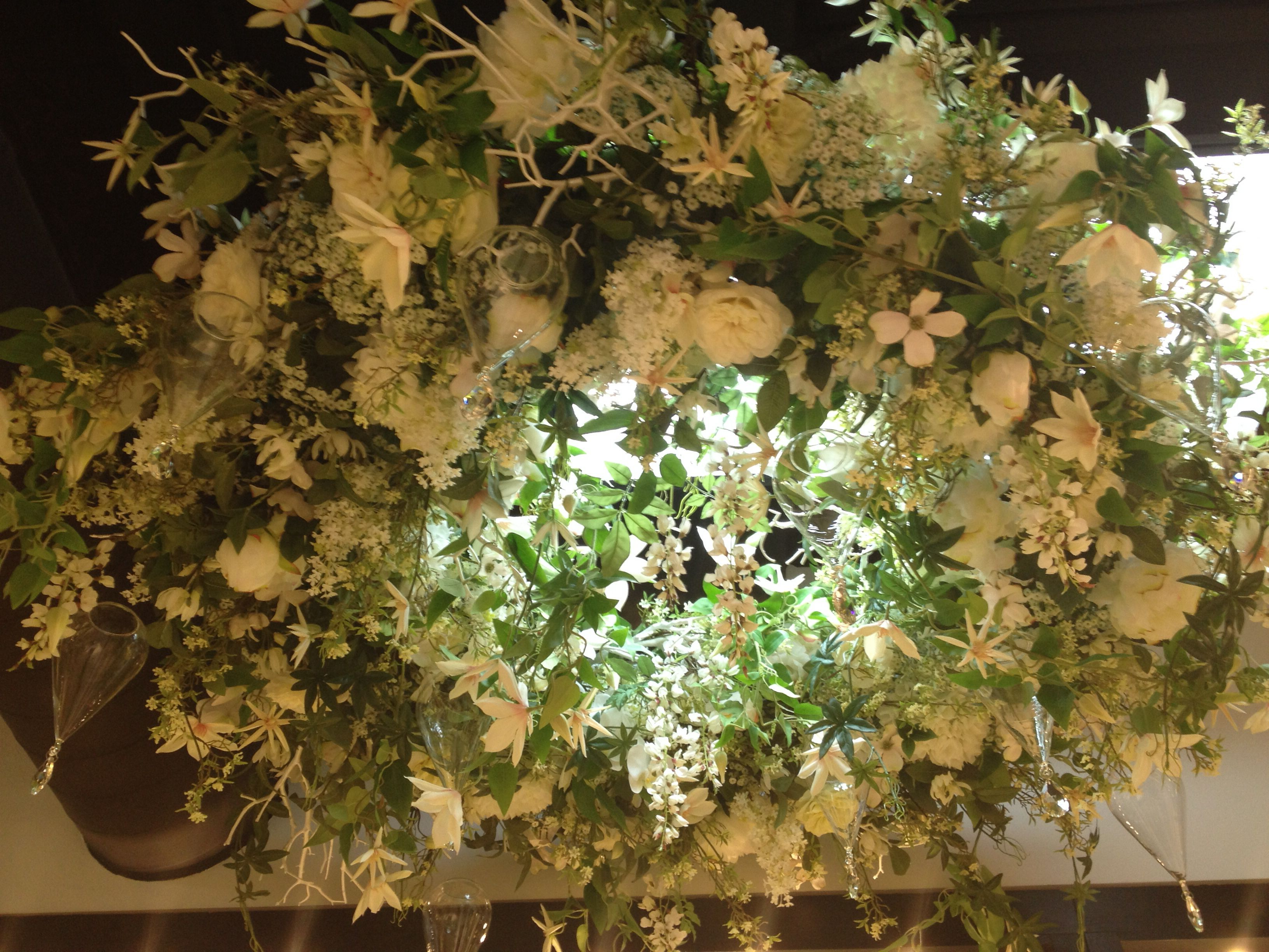Beautiful Giant Silk Floral Wreath Chandelier By Allstate Floral
