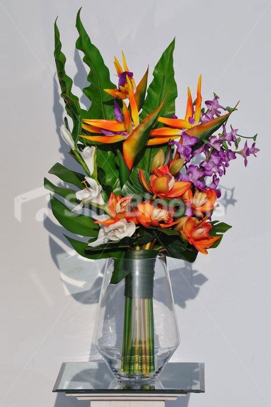 Artificial Orange Bird Of Paradise And Fresh Touch Orchid Arrangement W White Gladioli Tropical Flower Arrangements Orchid Arrangements Flower Arrangements