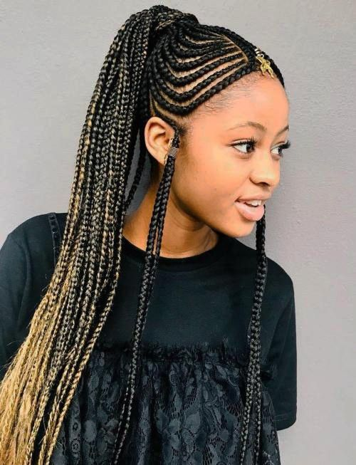 Fulani Braids Hairstyle For Afro American Women Braided